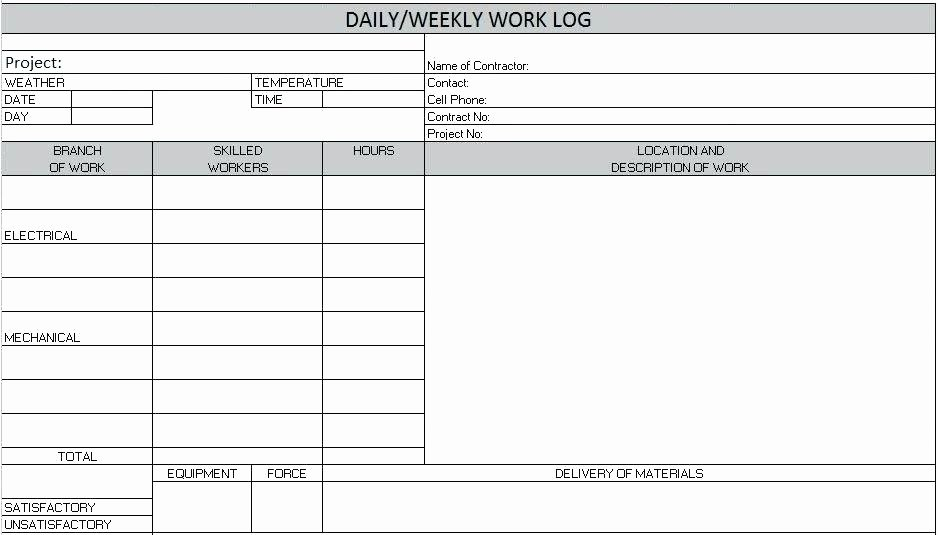 Weekly Work Log Template Excel Construction Daily Report