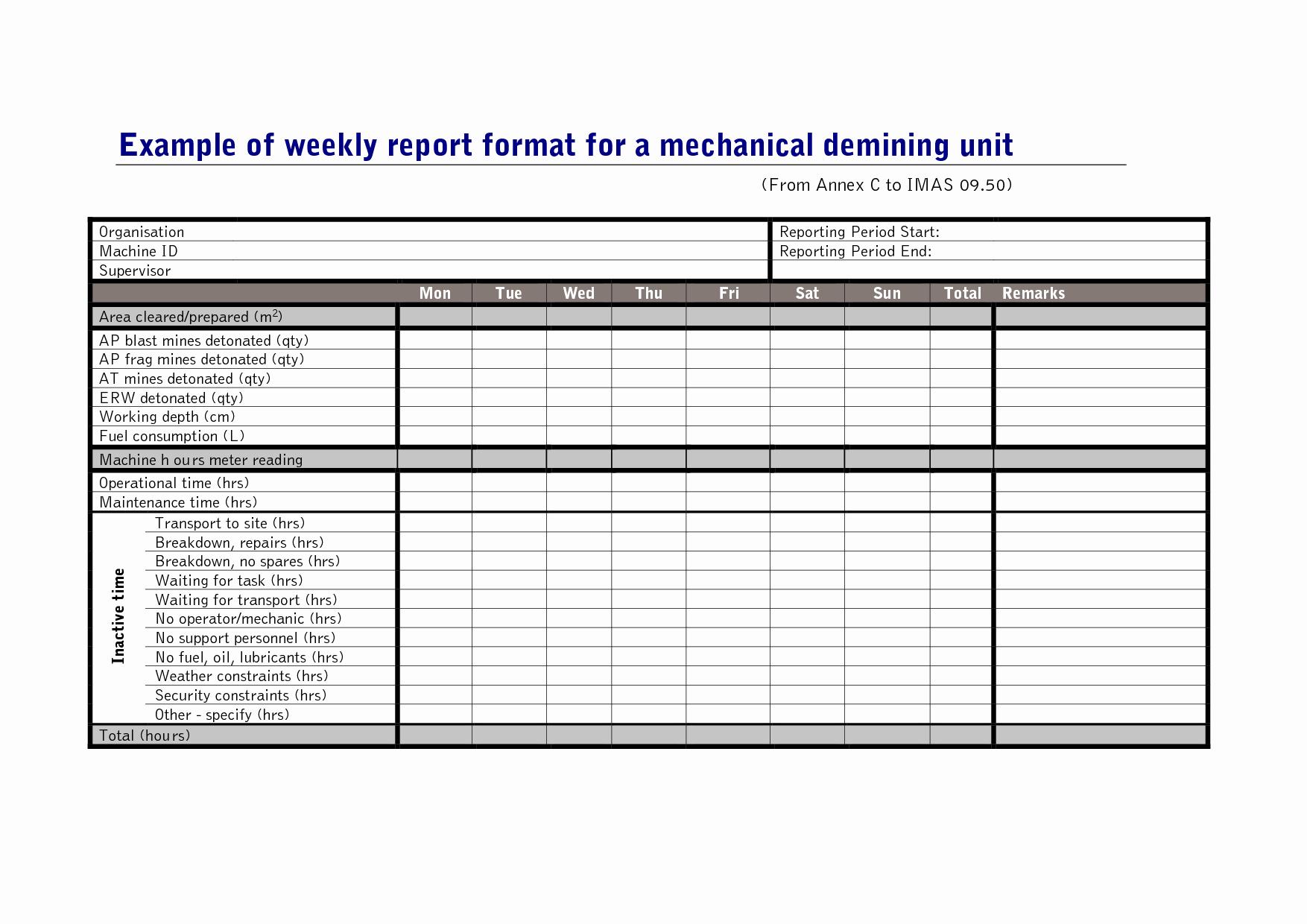 Weekly Work Report Template Portablegasgrillweber