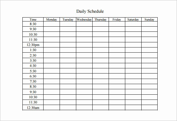 Weekly Work Schedule Template 8 Free Word Excel Pdf