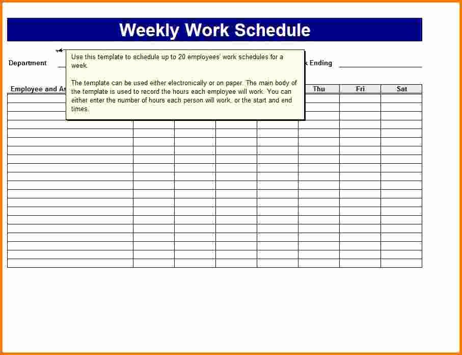 Weekly Work Schedule Template Pdf Driverlayer Search Engine