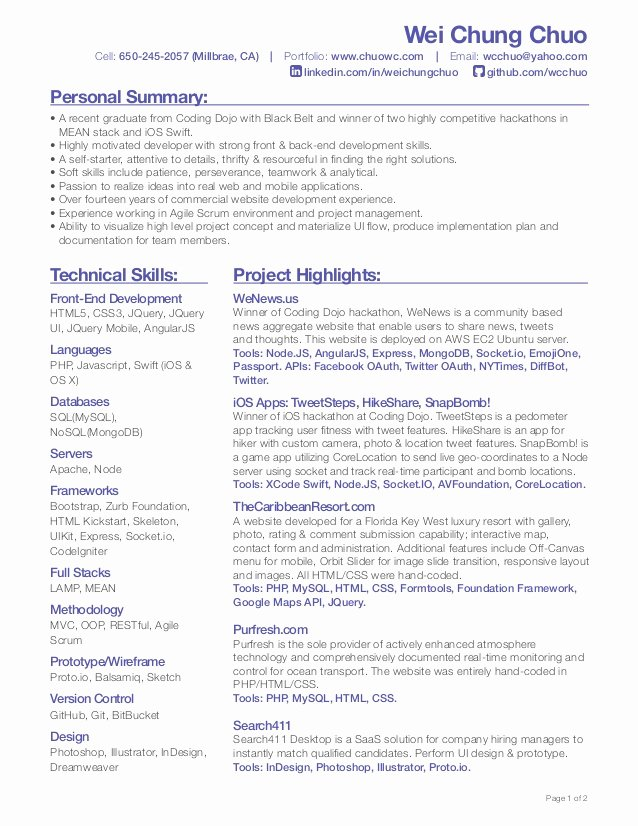 Wei Chung Chuo Front End Developer Resume