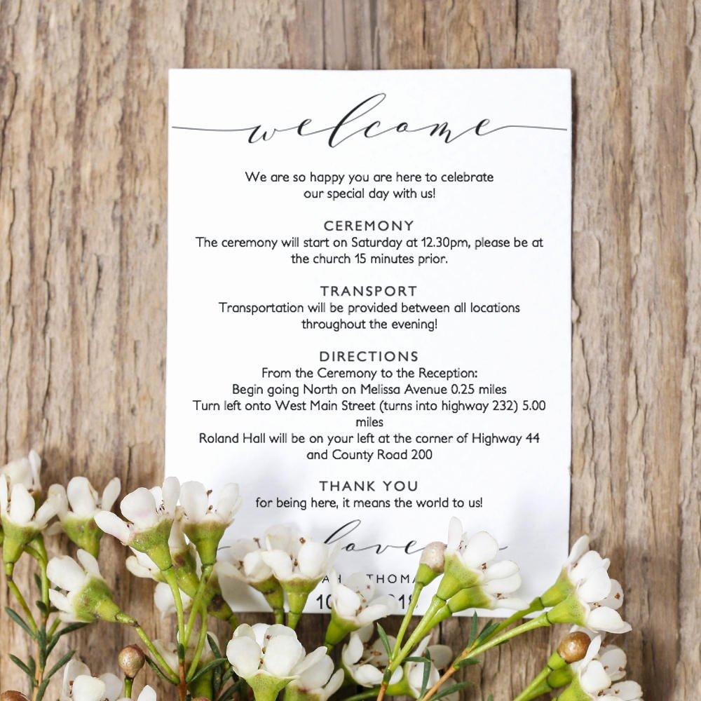 Wel E Itinerary 5x7 Wedding Guest Note Wel E Letter