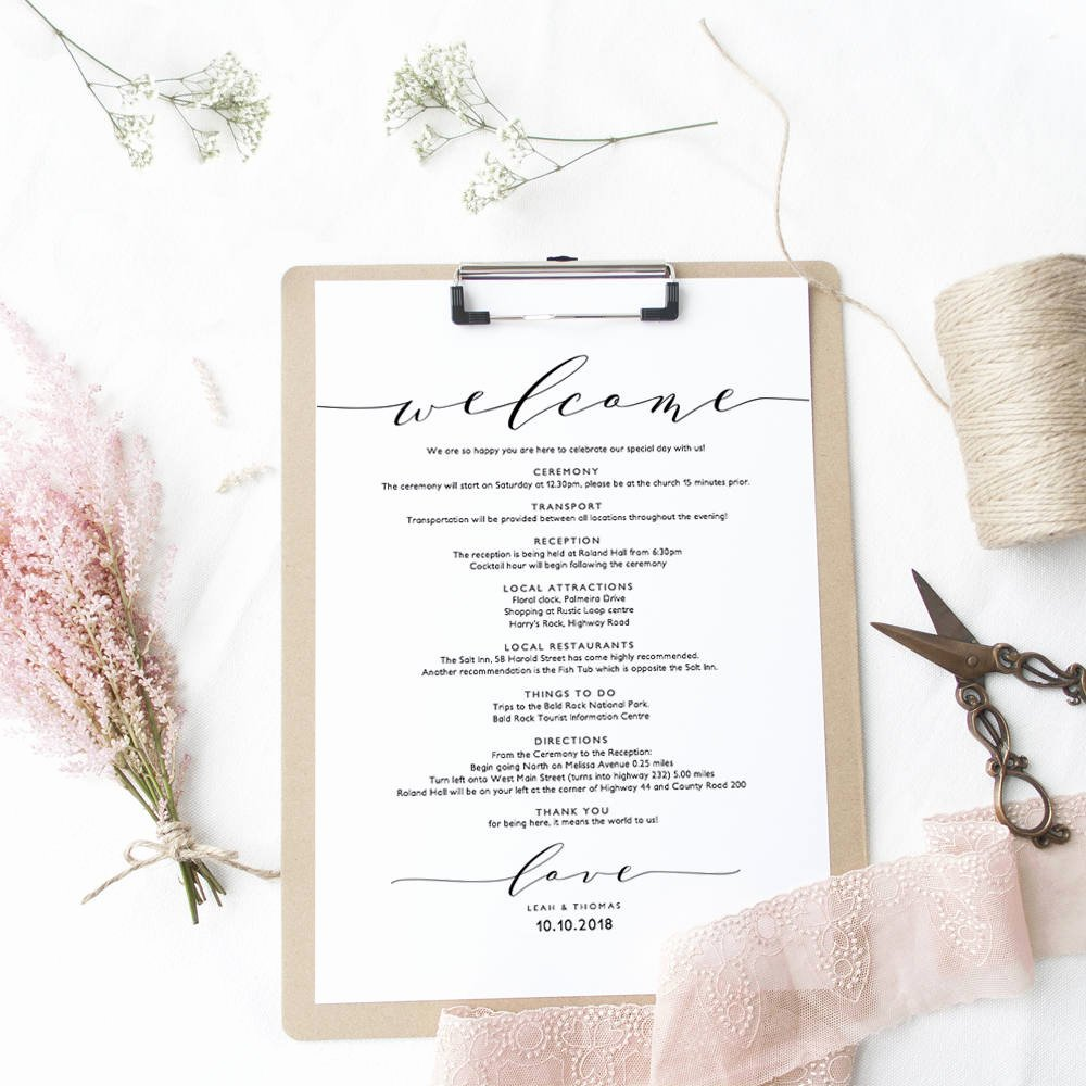 Wel E Itinerary Wedding Guest Wel E Letter Template