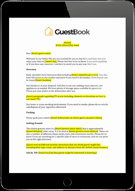Wel E Letter Template Guestbook Airbnb Property