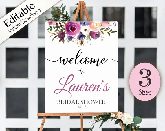 Wel E Sign Bridal Shower Template Editable Pdf Any event