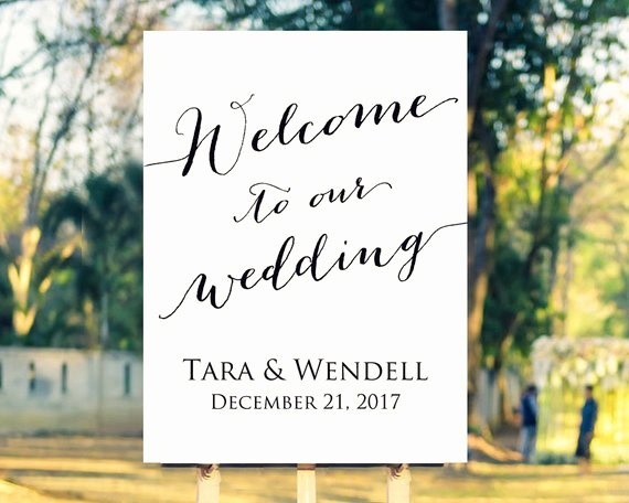 Wel E to Our Wedding Sign Template Editable Template In