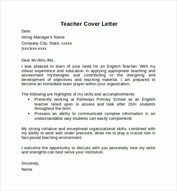 Well Cover Letter Sample Teacher – Letter format Writing