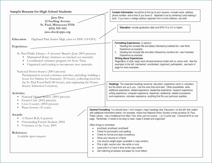 What A Resume Should Look Like for A Highschool Student