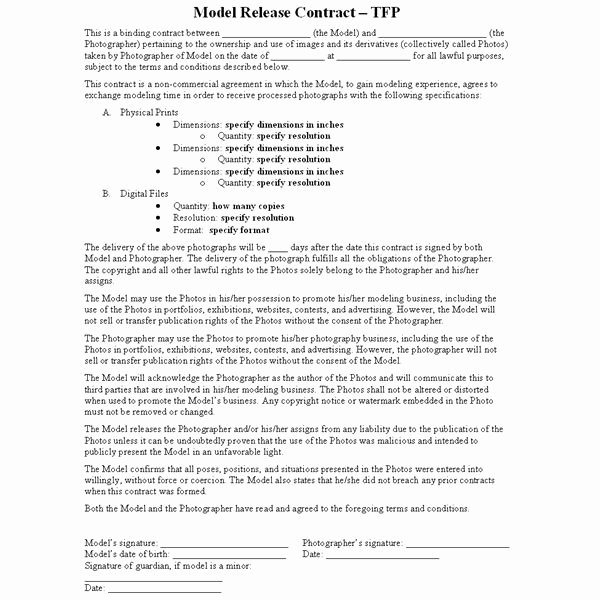 What is A Tfp or Time for Prints Contract