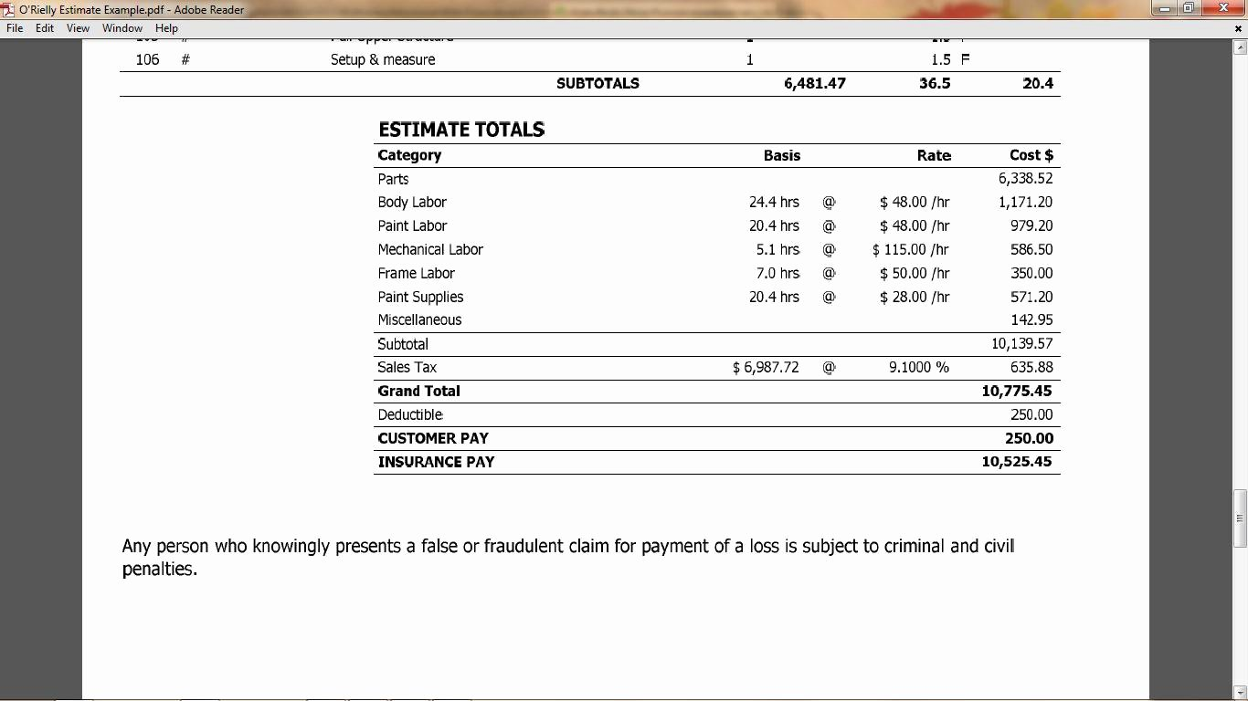 What is Included In Your Collision Repair Estimate O