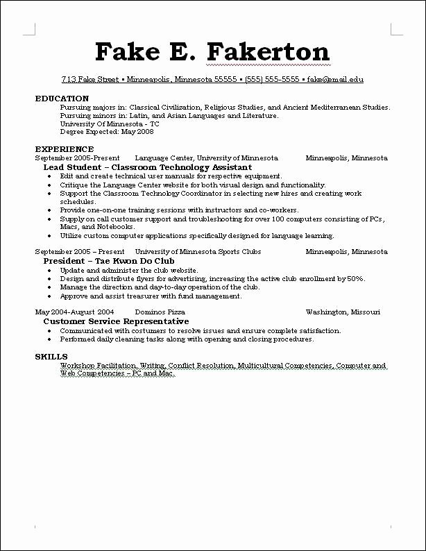What to Include A Resume