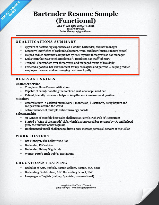 What to Put Skills Section Resume Bartender Resume