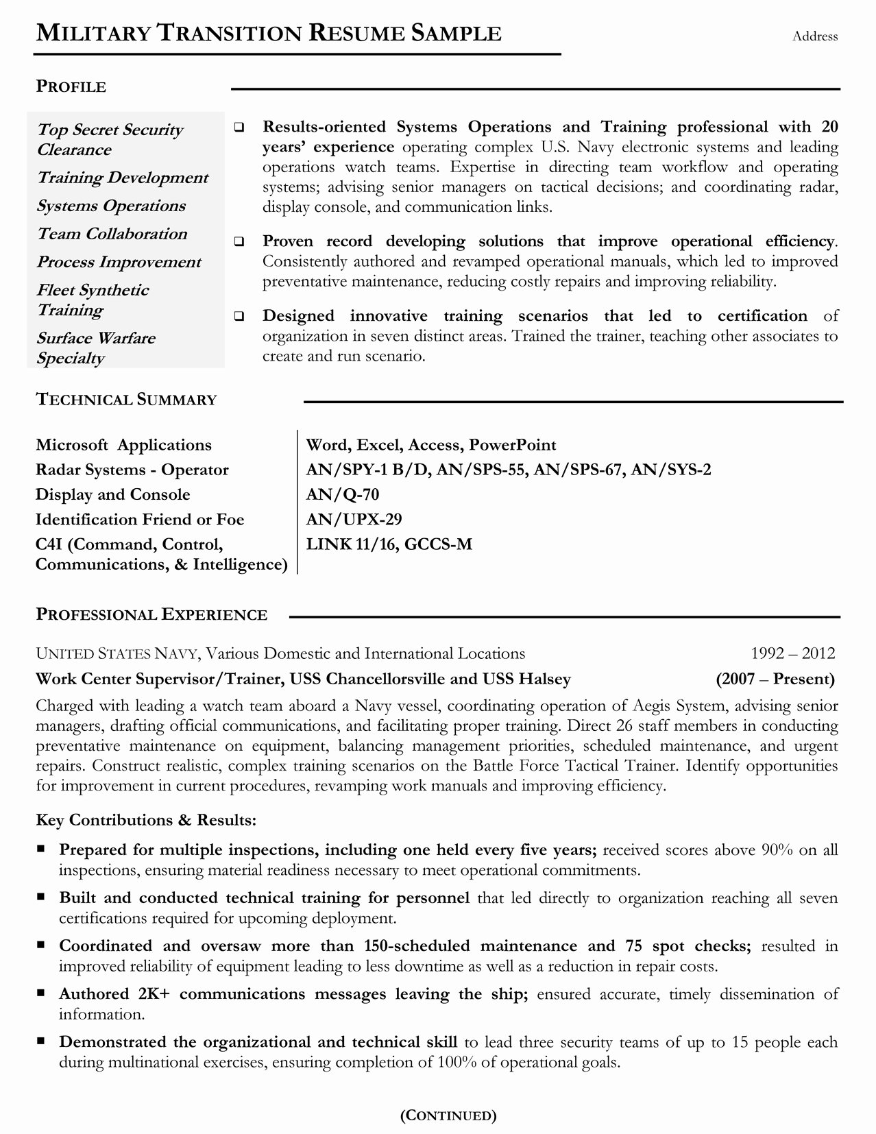Where to Put Military Service Resume Resume Ideas