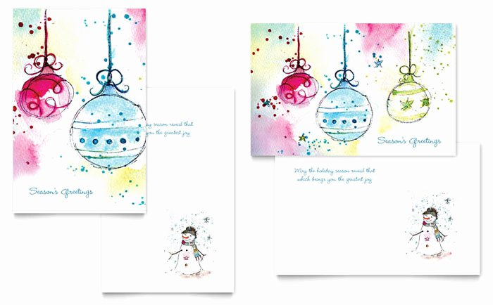 Whimsical ornaments Greeting Card Template Design
