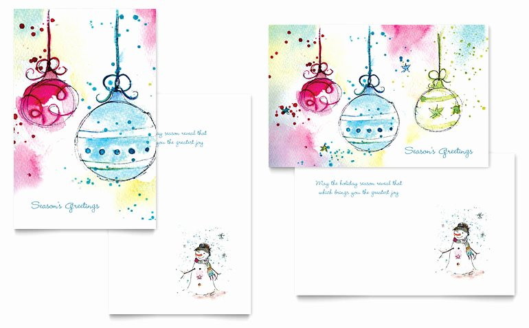 Whimsical ornaments Greeting Card Template Word & Publisher