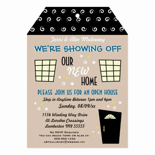 Whimsical Tag Cut Open House Invitation