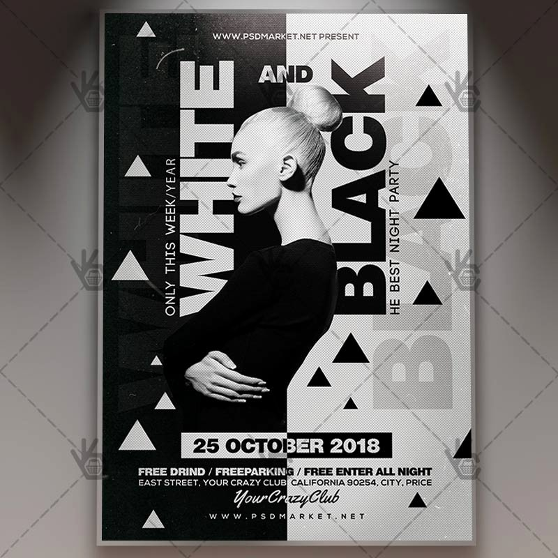White and Black Party Club Flyer Psd Template