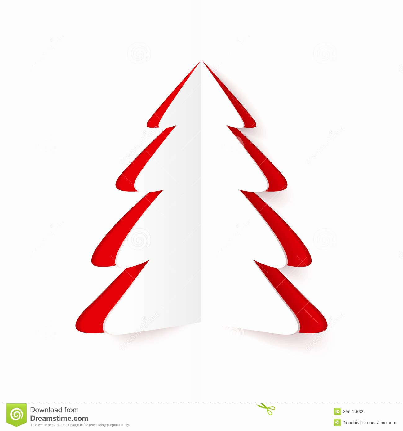 White and Red Cutout Paper Christmas Tree Stock Vector