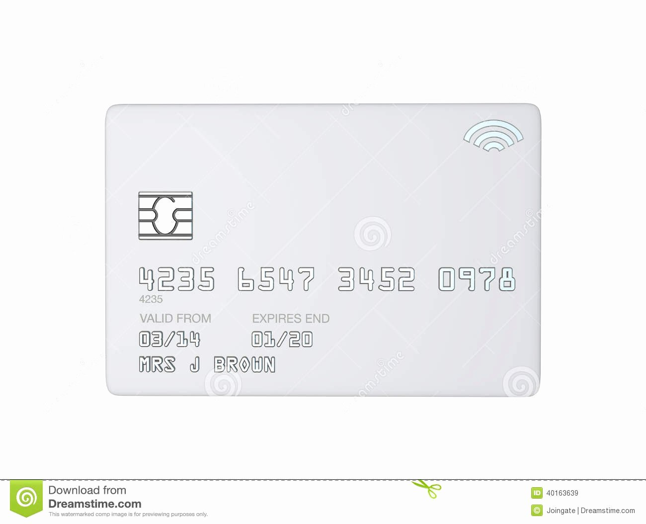 White Credit Card Template White Background Royalty