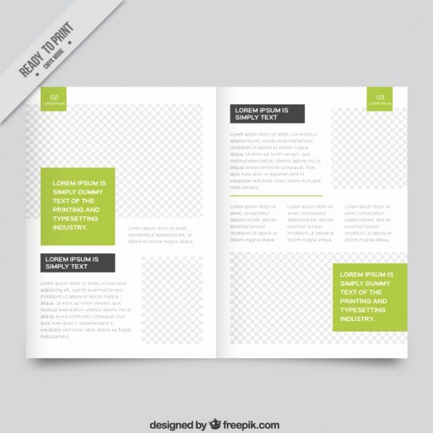 White Magazine Template with Green Parts Vector