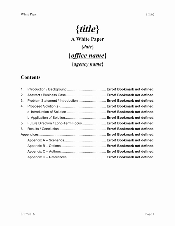 White Paper Templates Free Sample Templates