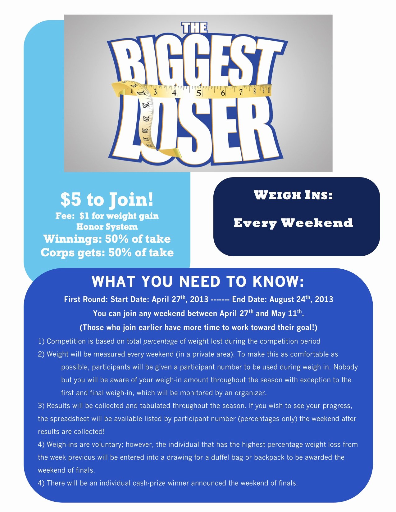 "White Sabers Holding ""the Biggest Loser"" Petition"