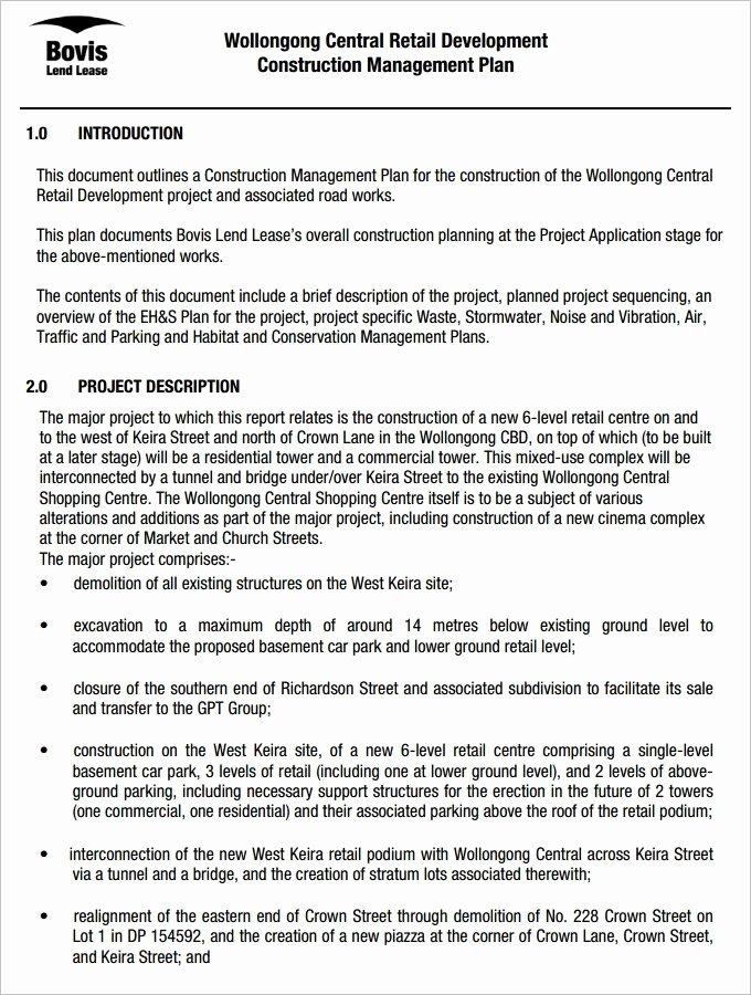 Whs Management Plan Template Construction
