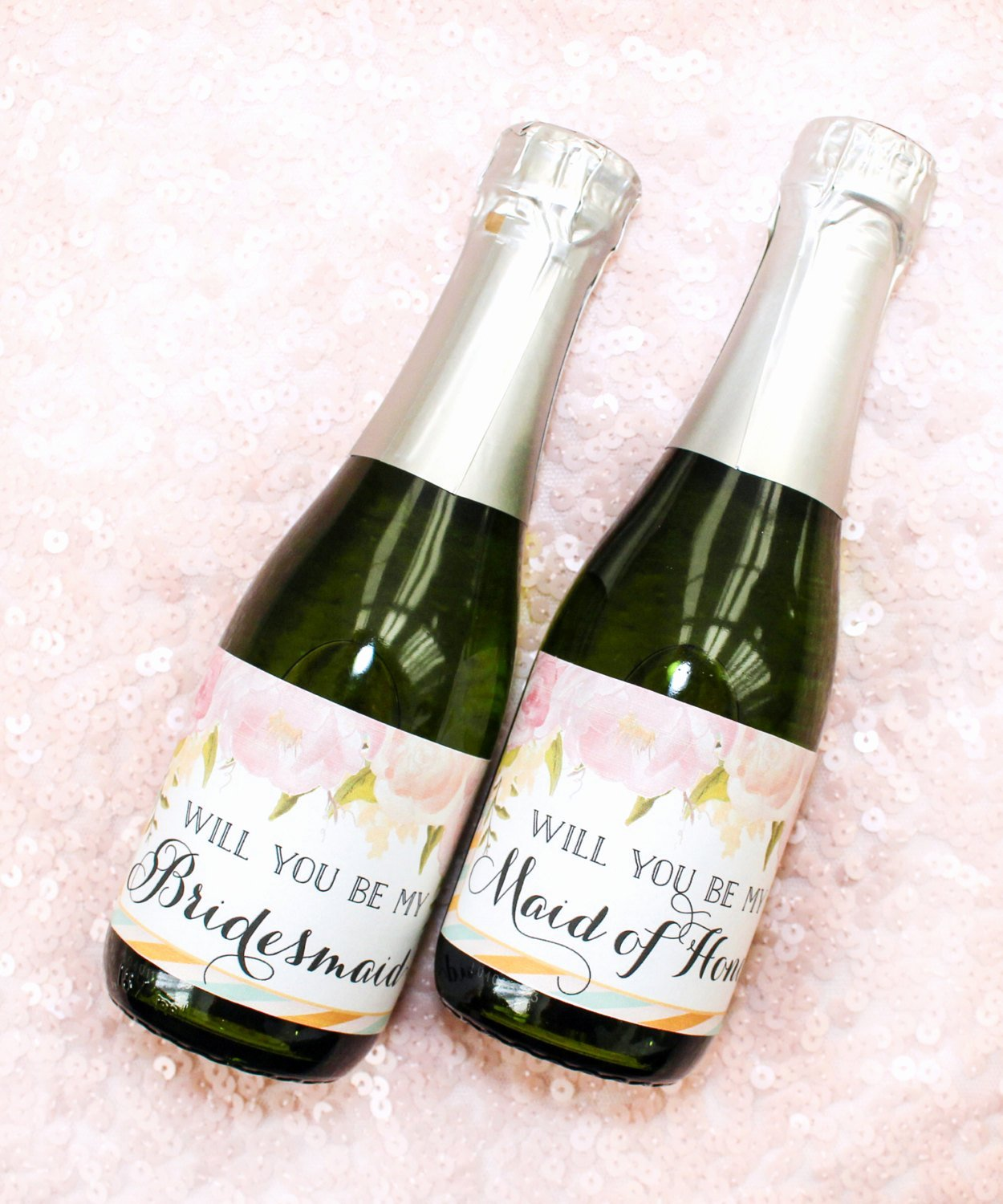 Will You Be My Bridesmaid Mini Champagne Bottle Labels Diy