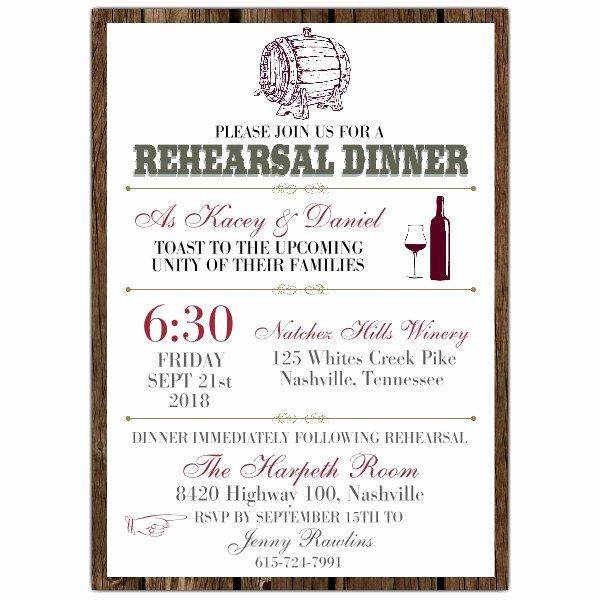 Wine Barrel Rehearsal Dinner Invitations