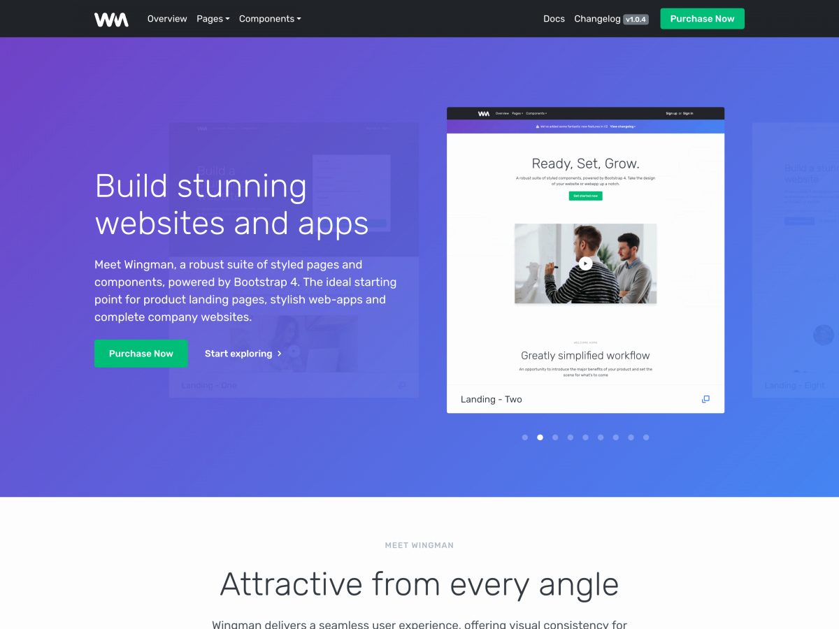 Wingman Landing Page & App Template Bootstrap themes
