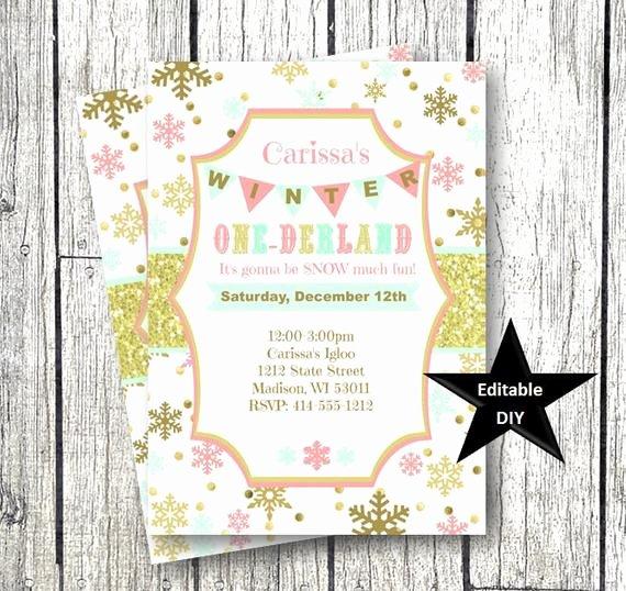Winter Ederland Invitation Template Gold Pink Snowflake