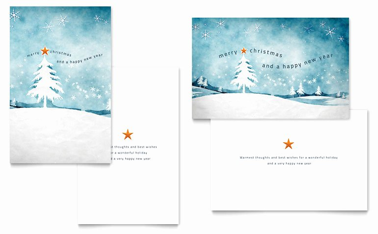 Winter Landscape Greeting Card Template Word & Publisher