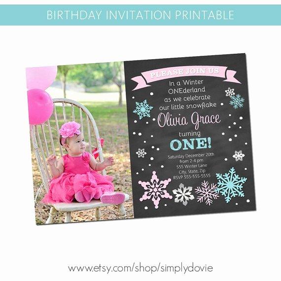 Winter Onederland Chalkboard Invitation Winter Wonderland