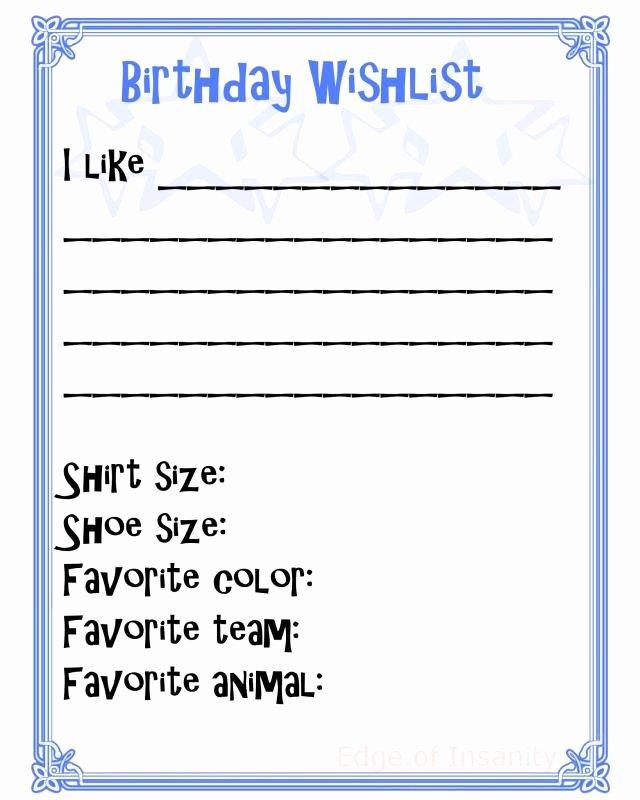 Wish List Template