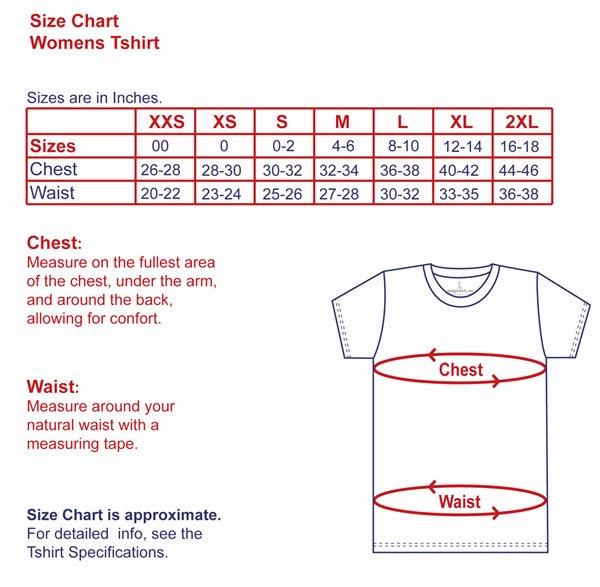 Womens T Shirts Size Chart