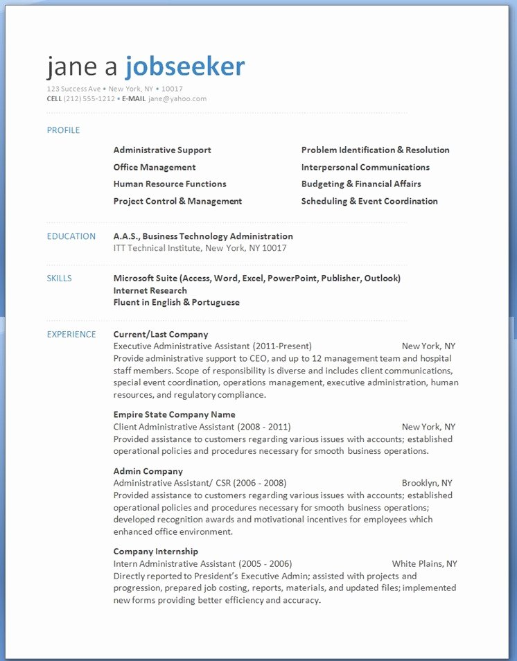 Word 2013 Resume Templates