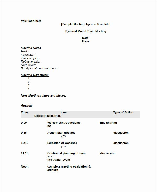 Word Agenda Template 6 Free Word Documents Download