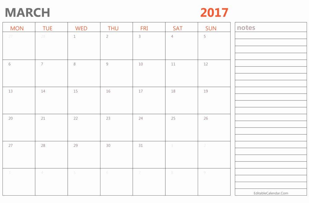 Word Calendar Template 2017