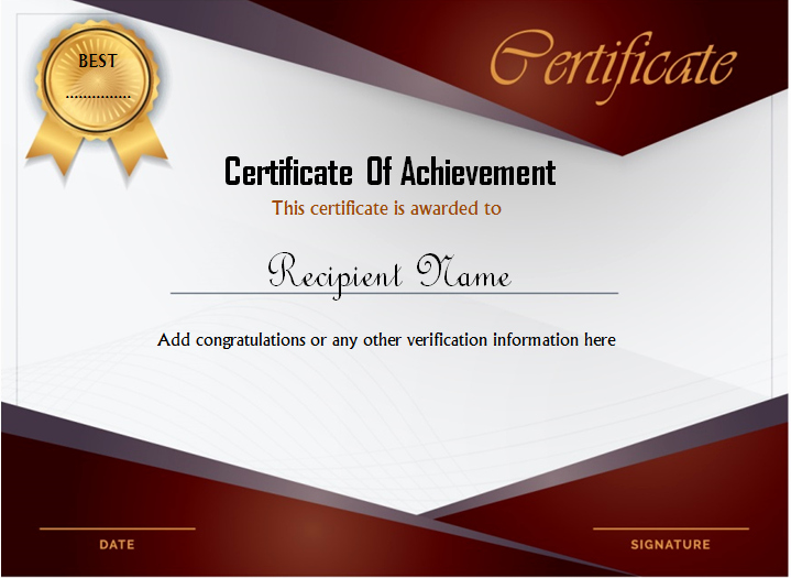 Word Certificate Achievement Template