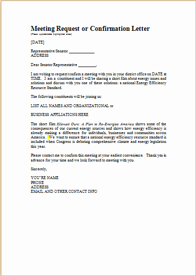 Word Meeting Confirmation Letter Template