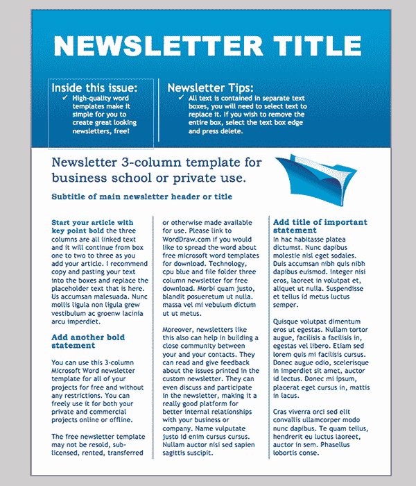 Word Newsletter Template – 31 Free Printable Microsoft