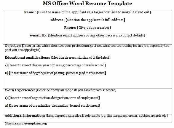 Word Template for Ms Fice Resume Template Of Ms Fice