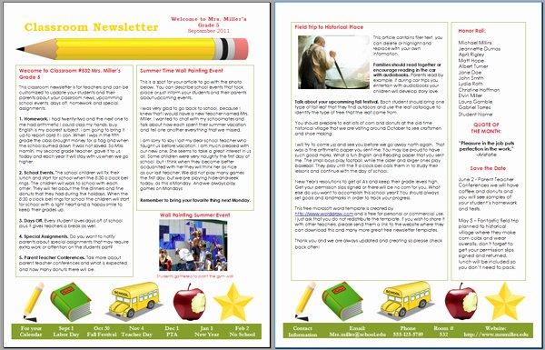Worddraw Free Classroom Newsletter Template