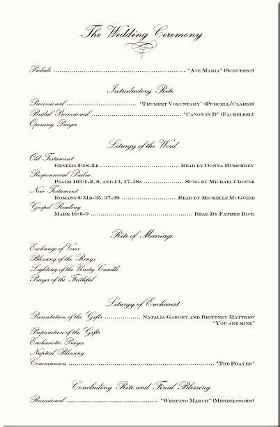 Wording Examples Wedding Ceremony Programs