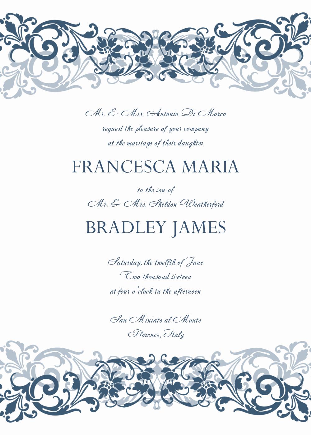 Wording Wedding Invitations Template