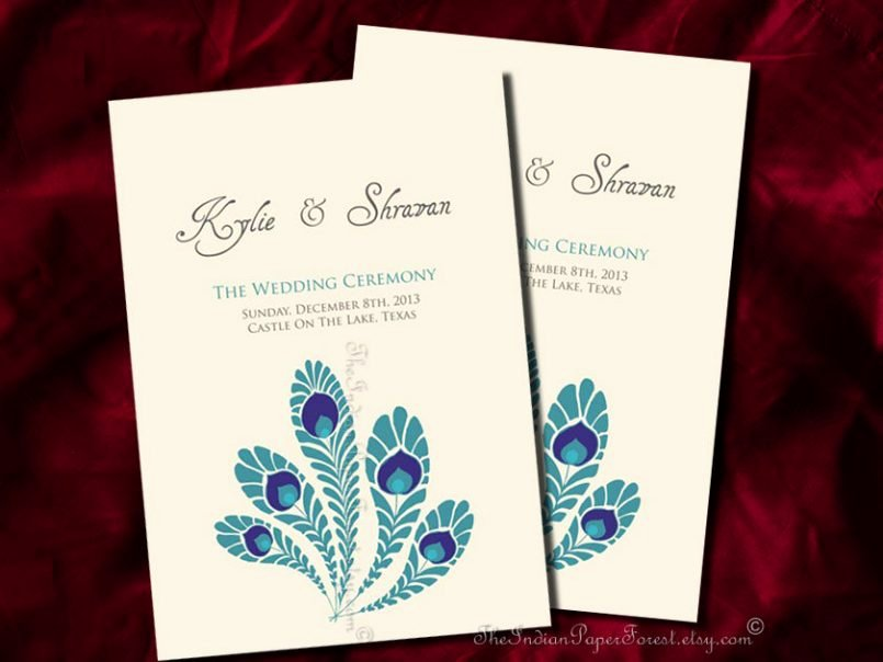 Wordings Peacock Wedding Invitations Template with