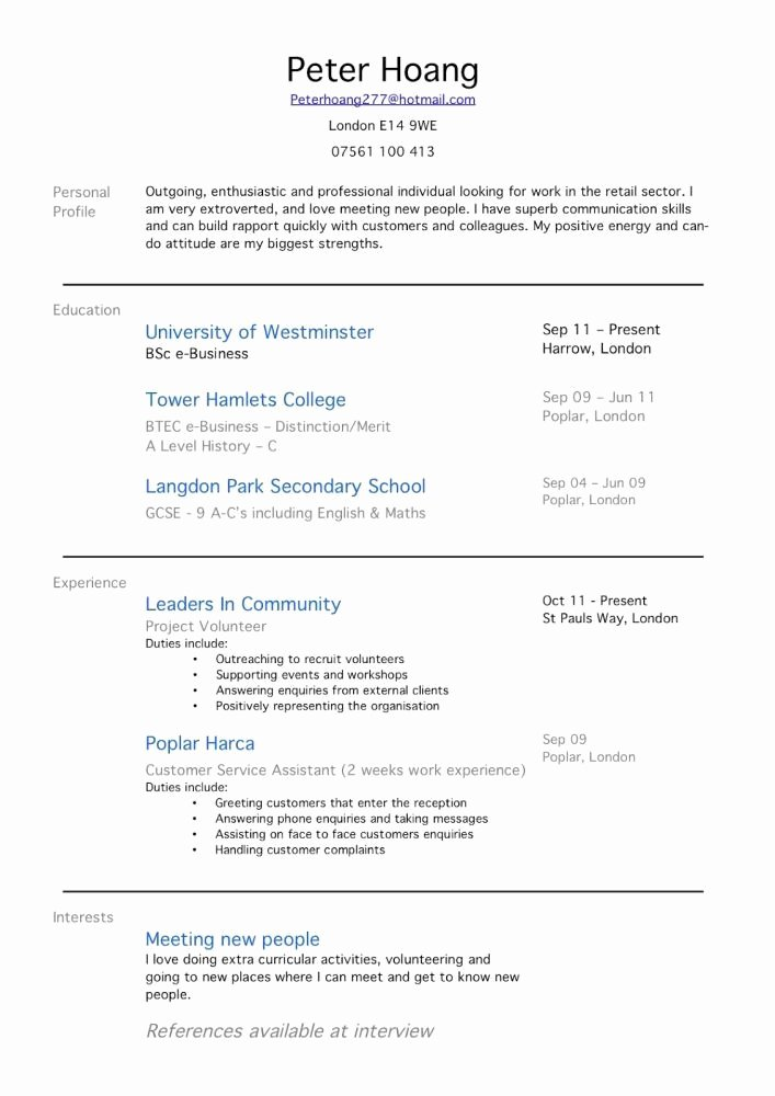 Work Experience Resume Examples for Jobs with Little
