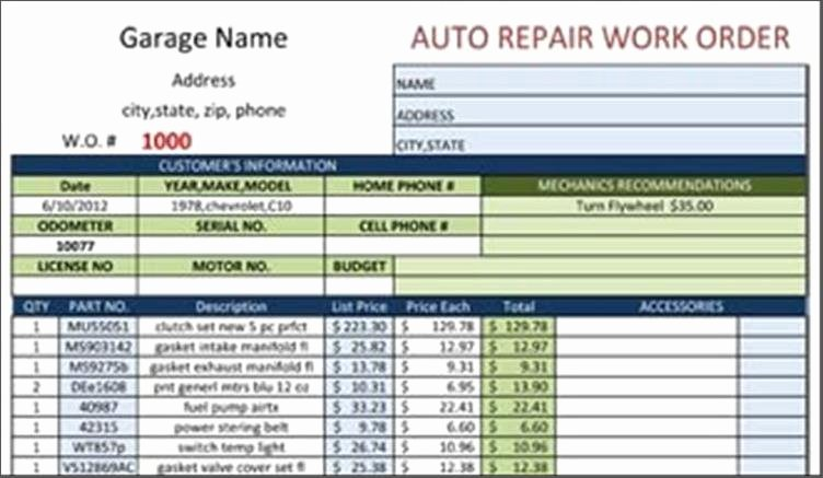 Work order Template Automotive Repair Example