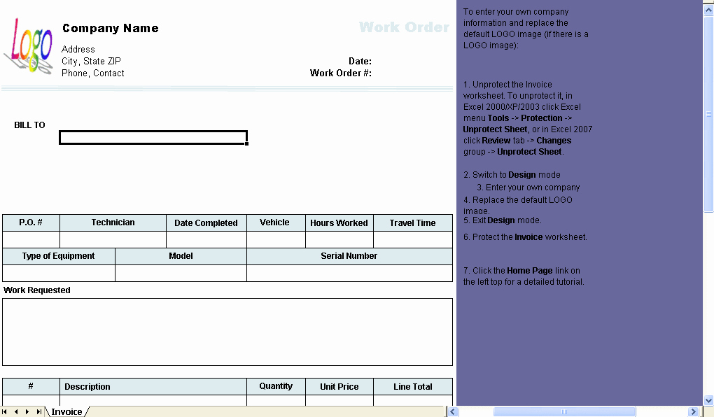 Work order Template Download
