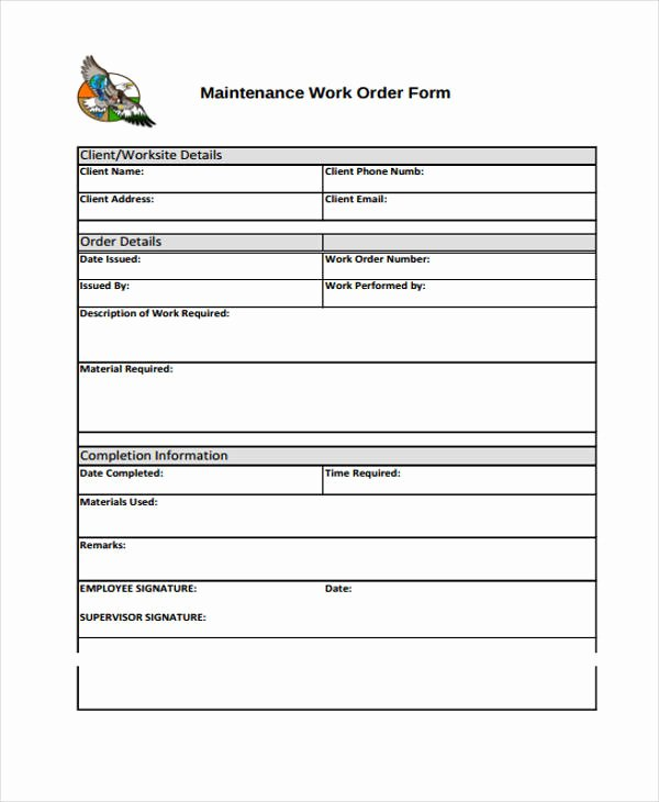 Work order Templates 9 Free Pdf format Download